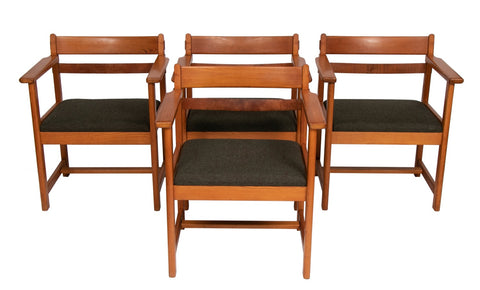 Set of 4 1950s Borge Mogensen Style Pine Dining Carver Armchairs
