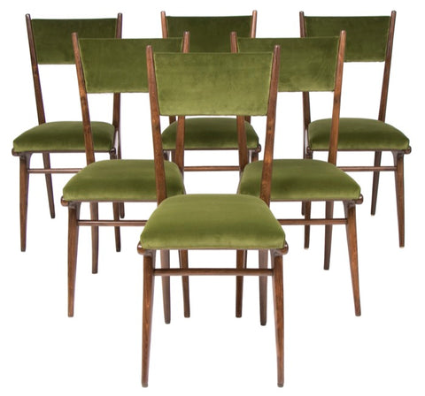 Set of Six Italian 1950s Ico Parisi High Back Dining Chairs