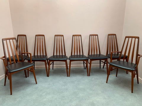 "Set of 8 Teak ""Eva"" Niels Koefoed Dining Chairs for Koefoed Hornslet"
