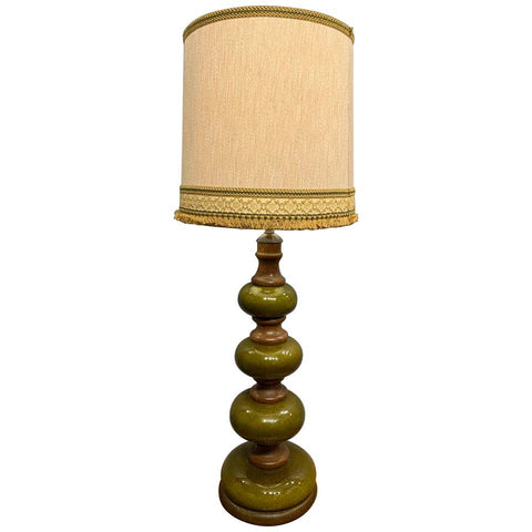 Tall Vintage Green Ceramic & Wood Lamp Base inc Shade