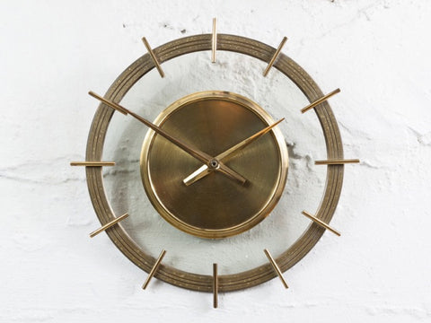 Vintage 1960s German Brass And Glass Wall Clock
