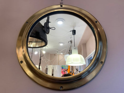Vintage 1960s Solid Brass Wall Mounted Mirrored Porthole