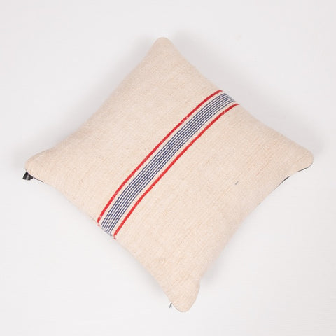 Vintage French Burlap Striped Cushion by Vintage Cushions