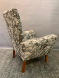 1950s British Armchair in Marble Effect Fabric