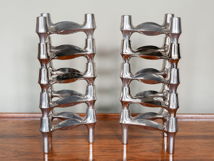 1960s Nagel BMF Chrome Modular Candle Holders