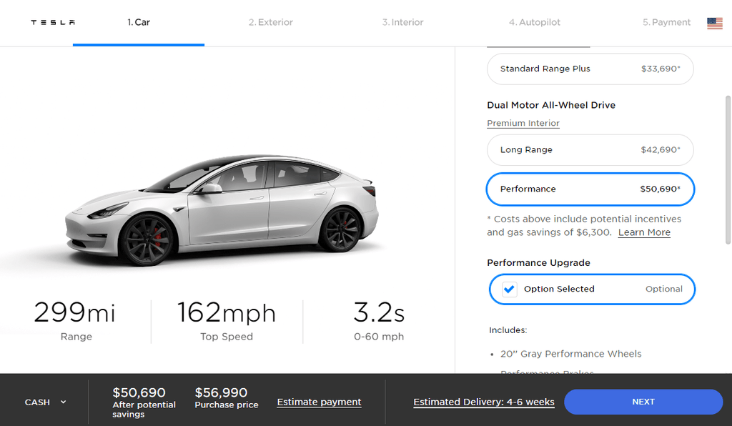 Tesla Model 3 Performance met Performance Upgrade in optie gratis