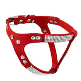 Rhinestone Soft Suede Leather Dog Harness