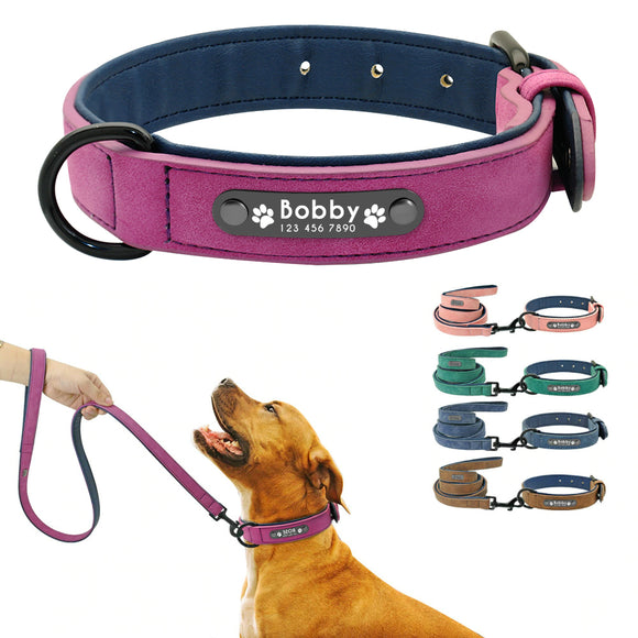 Premium Personalized Soft Leather Dog Collar