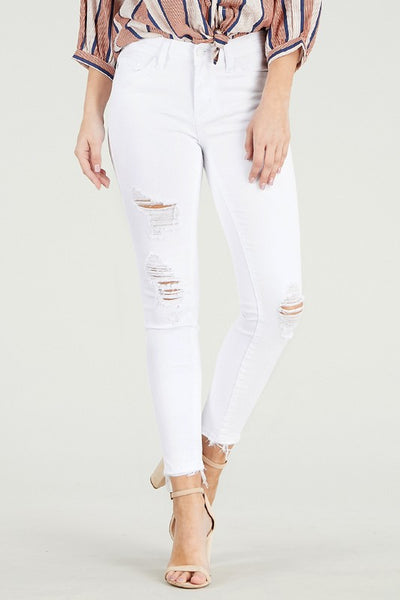 Mid Rise distressed hem cropped skinny white