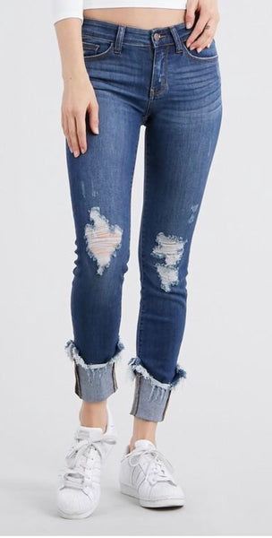 Cuffed Destroyed Hem Skinny Jean