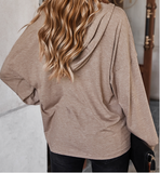 V Neck Solid Loose Button Up Hoodie