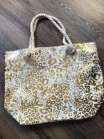 Gold leopard beach bag