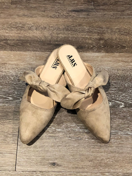 Taupe suede bow mules