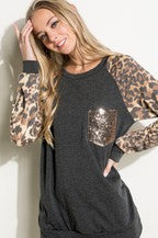 Glitter Pocket Leopard Sleeve Top