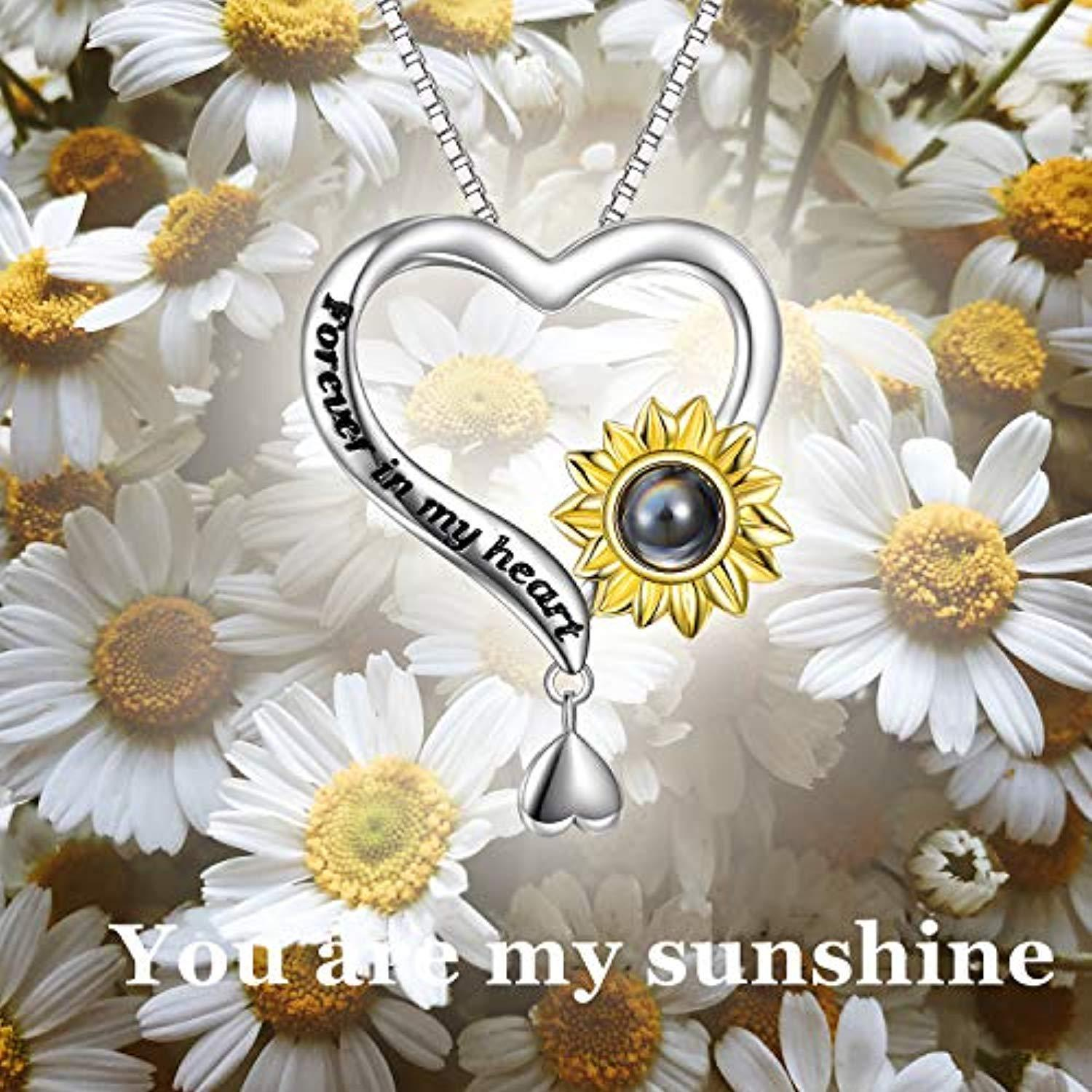 Orcbee/_100 Languages Say I Love You Heart Sunflower Projection Necklace Gift to Mom Daughter