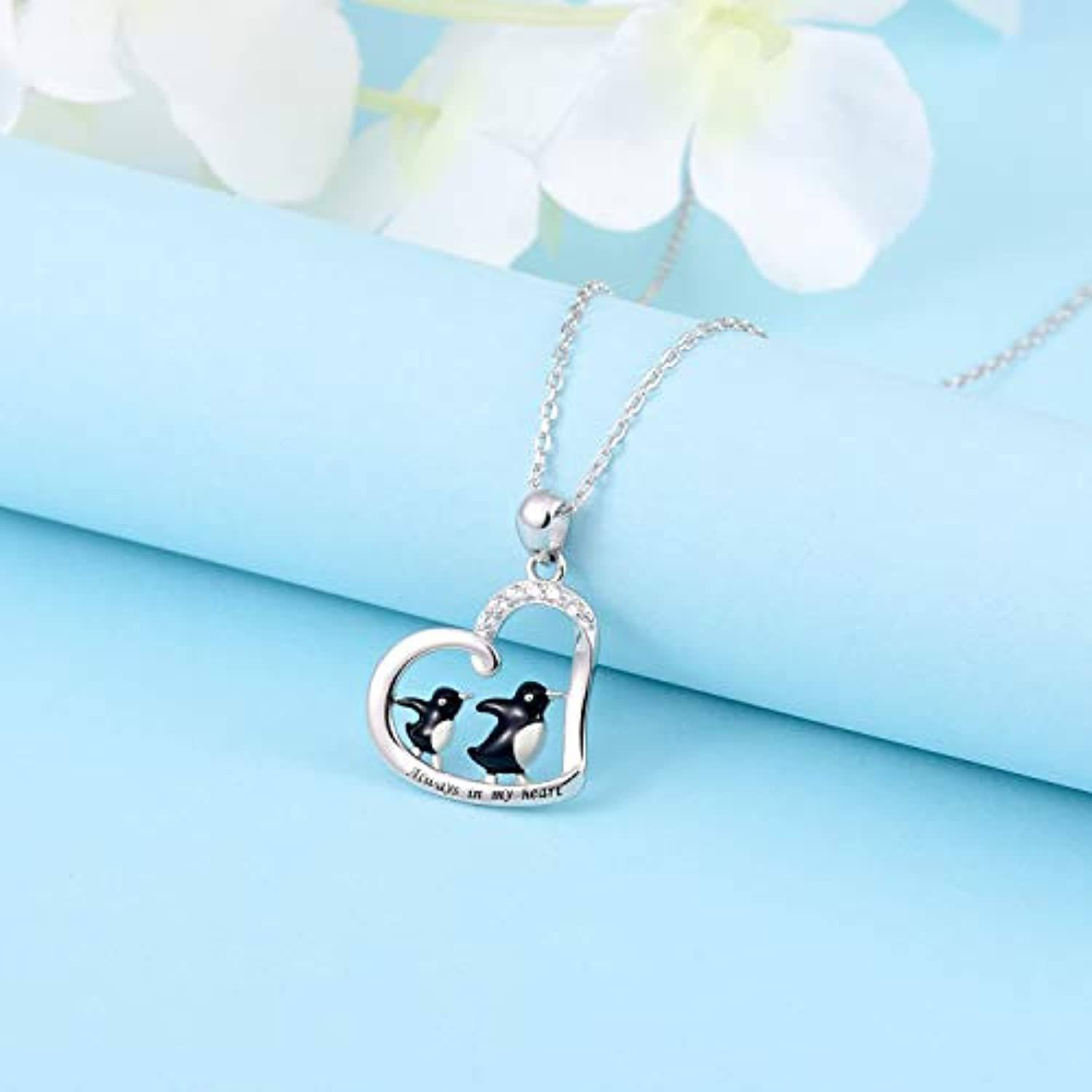Penguin Couple Sterling Silver Pendant with Chain