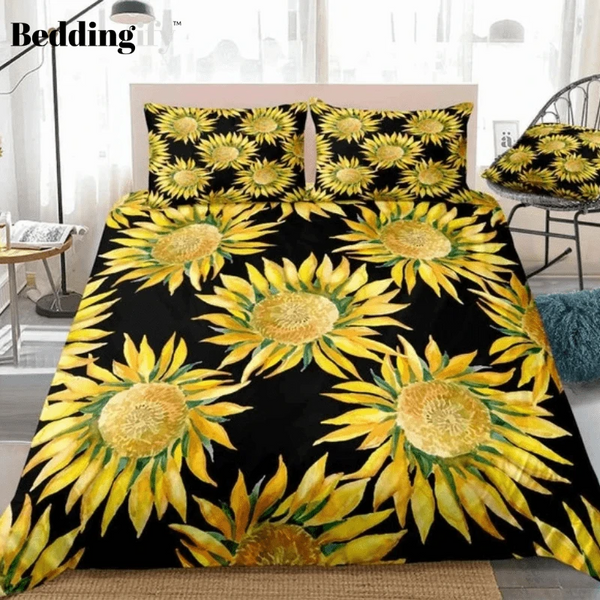 Watercolor Sunflowers Blooming Bedding Set