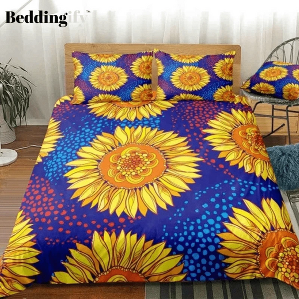 Sunflower Blue Background Bedding Set