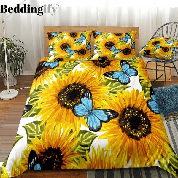 Butterflies Sunflower Bedding Set