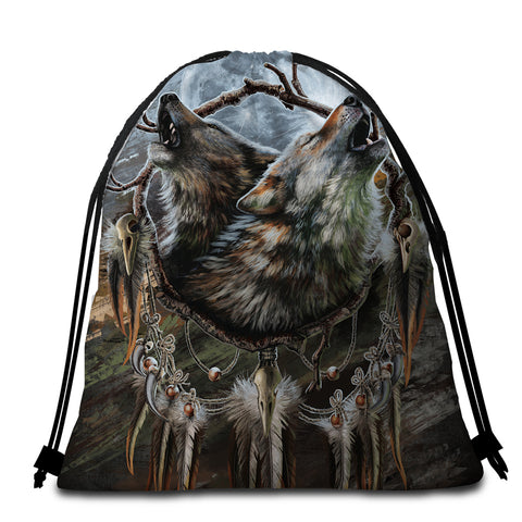 Image of Wolfhowl Round Beach Towel Set