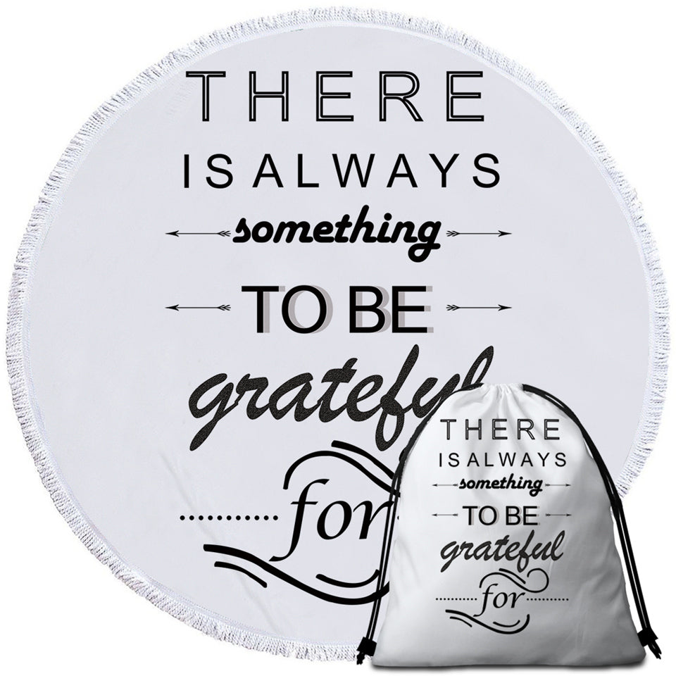Grateful Quote Round Beach Towel Set - Beddingify