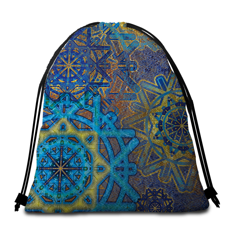 Blue Wheels Glided Round Beach Towel Set - Beddingify