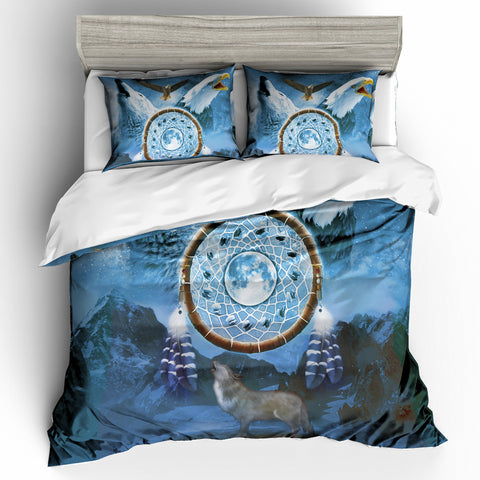 Image of Dreamcathcer Eagle and Wolf Bedding Set - Beddingify