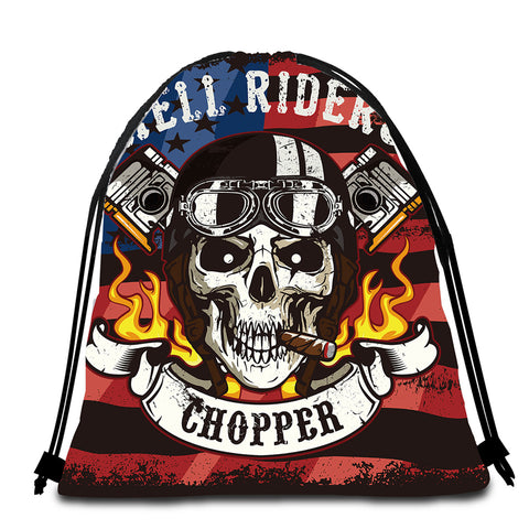 Image of Hell Rider Chopper Round Beach Towel Set - Beddingify
