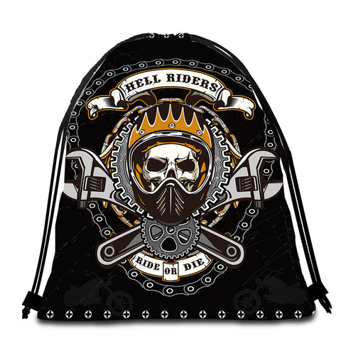 Mechanic Hell Rider Round Beach Towel Set - Beddingify