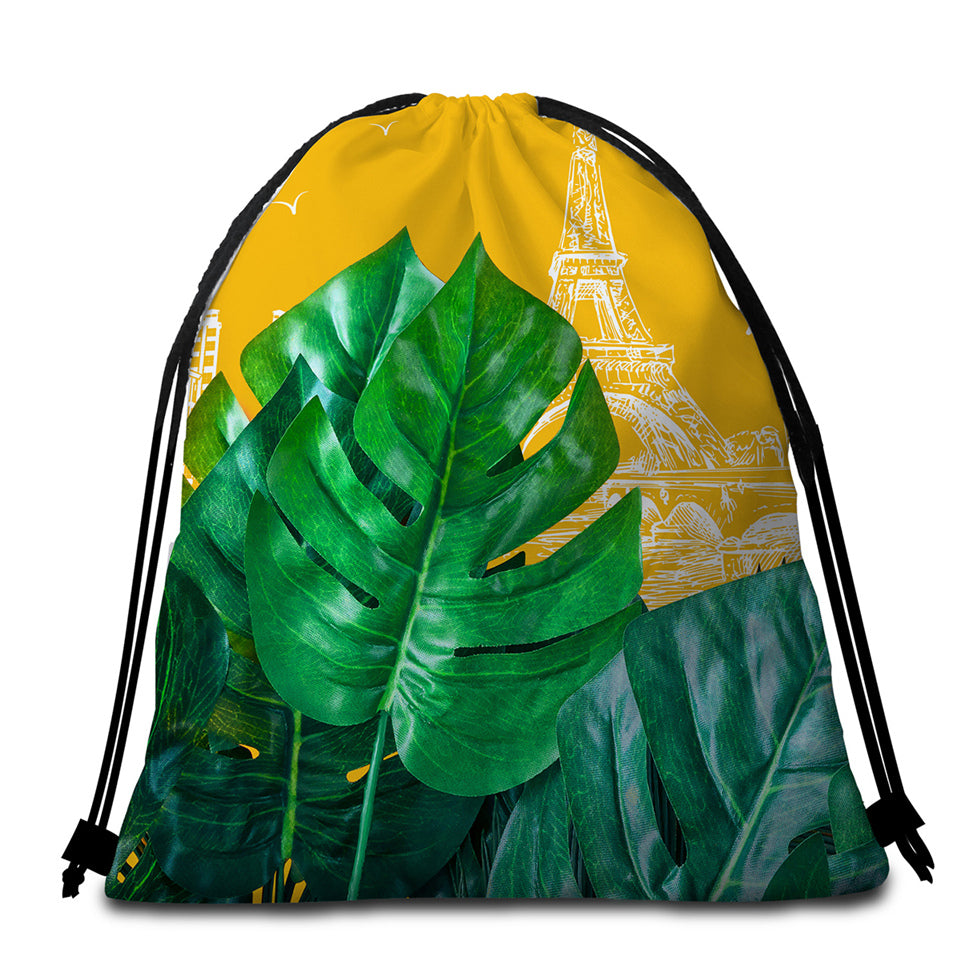 3D Leaves Paris Round Beach Towel Set - Beddingify