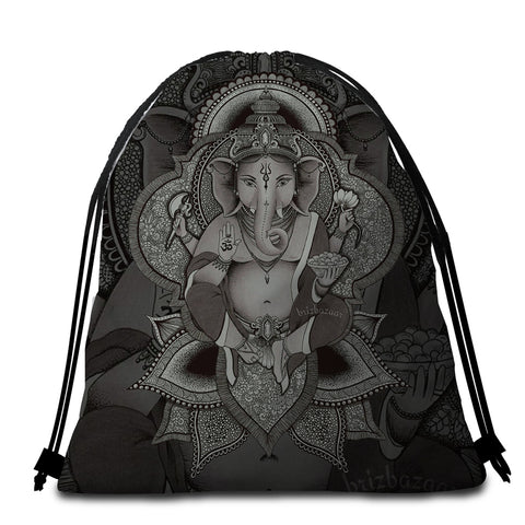 Image of 3D B&W Ganesh Round Beach Towel Set - Beddingify