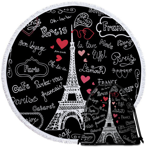Image of Iconic Eiffel Round Beach Towel Set - Beddingify