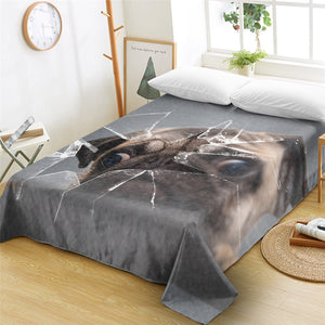 3D Pug Broken Glass Flat Sheet - Beddingify
