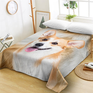 3D Corgi Furry Flat Sheet - Beddingify