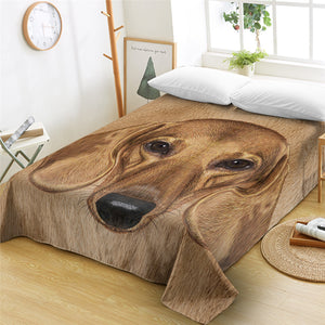 3D Dachshund Furry Flat Sheet - Beddingify