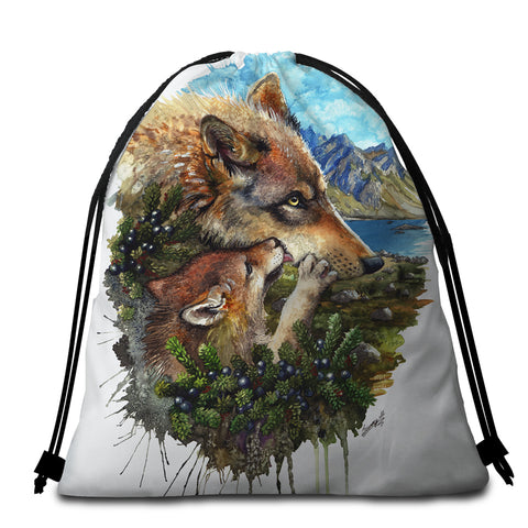 Image of Wolf Family Round Beach Towel Set - Beddingify