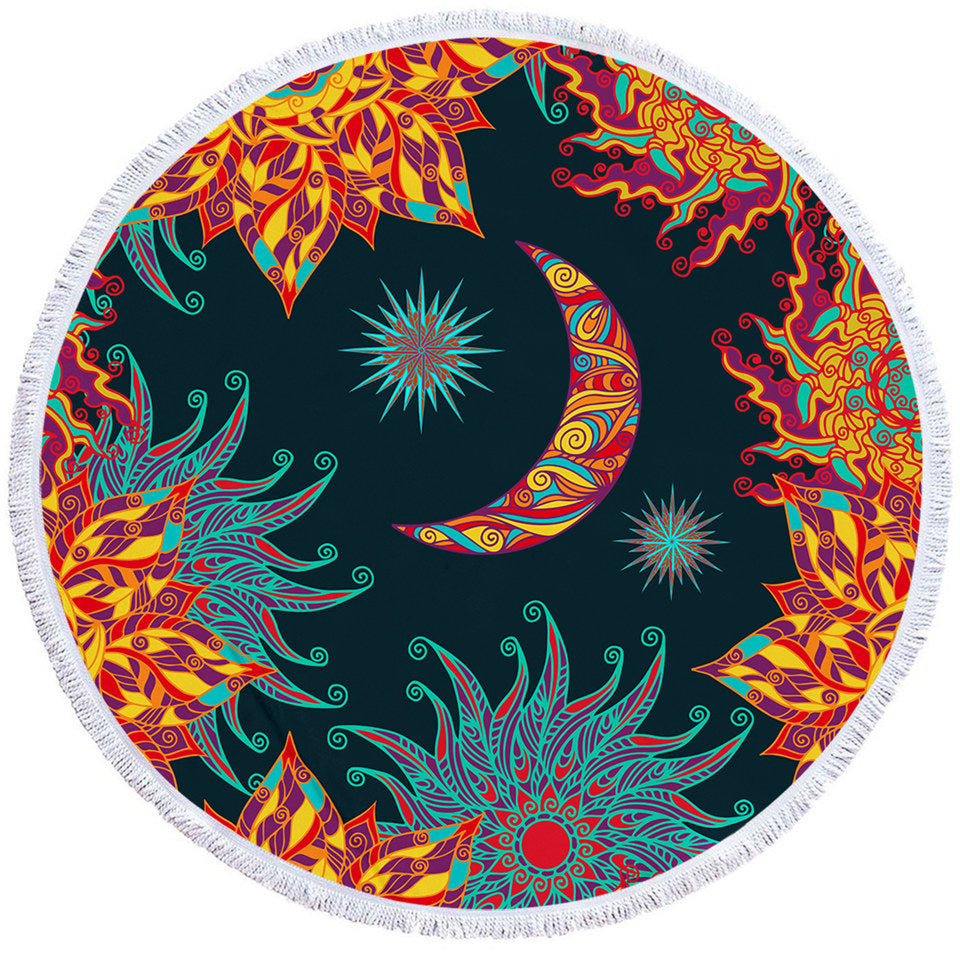Artistic Moon & Sun Round Beach Towel Set - Beddingify