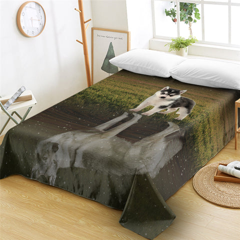 Baby Husky Reflection Flat Sheet - Beddingify