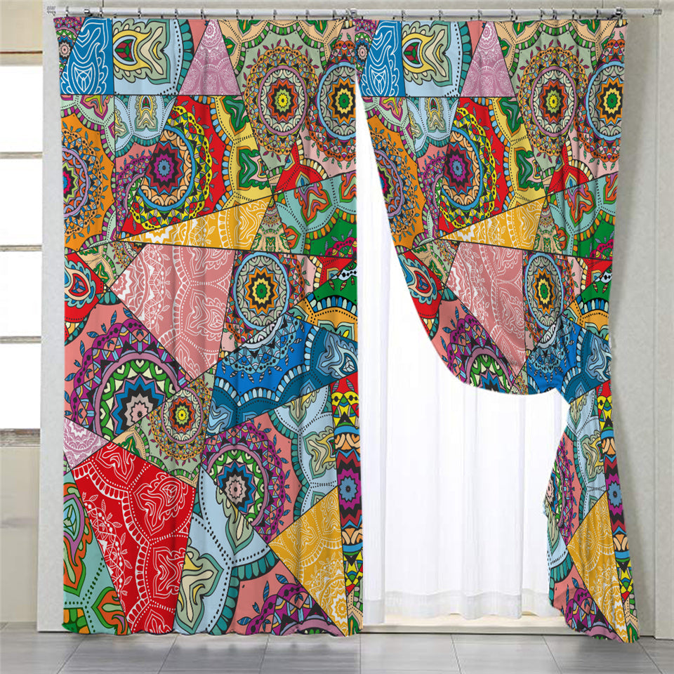 Stylized Mandala Themed 2 Panel Curtains