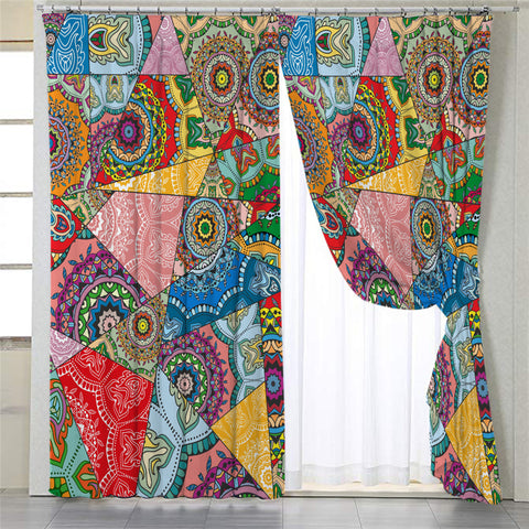 Image of Stylized Mandala Themed 2 Panel Curtains