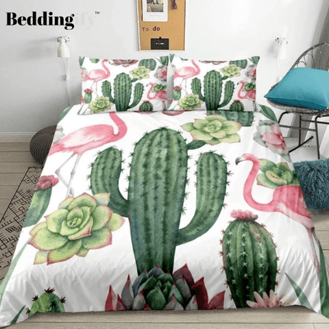 Image of Floral Printed Flamingo Cactus Bedding Set - Beddingify