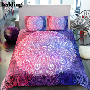 Black Pink Purple Mandala Pattern Bedding Set - Beddingify