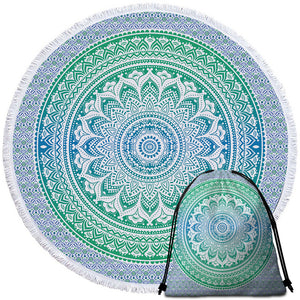 White Mandala Blue Round Beach Towel Set - Beddingify