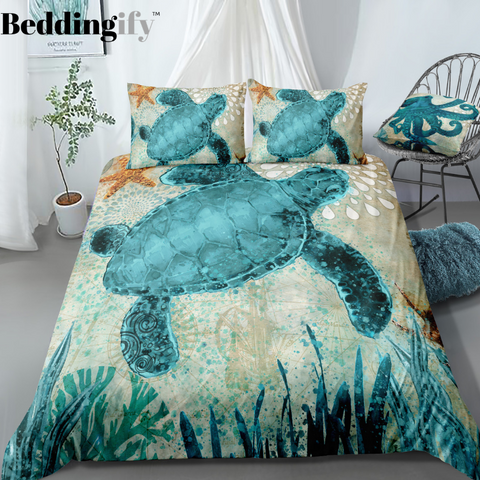 Image of Green Turtle Bedding Set - Beddingify