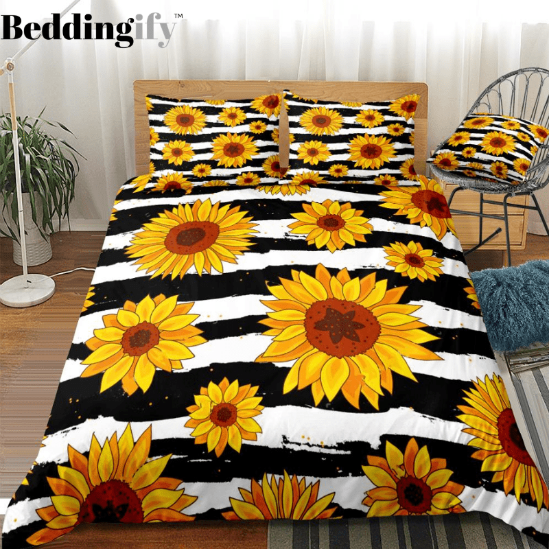 Stripe Sunflowers Bedding Set - Beddingify