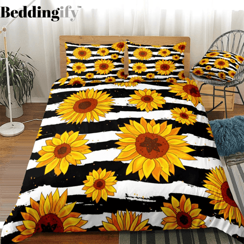 Image of Stripe Sunflowers Bedding Set - Beddingify