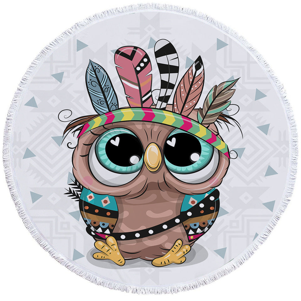 Cute Tribal Owl Round Beach Towel Set - Beddingify