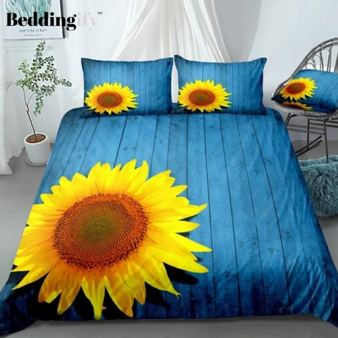 Image of 3D Sunflower Blue Bedding Set - Beddingify