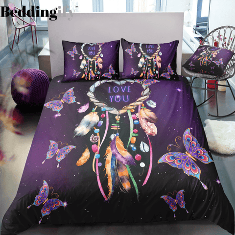 Purple Butterflies Dreamcatcher Bedding Set - Beddingify