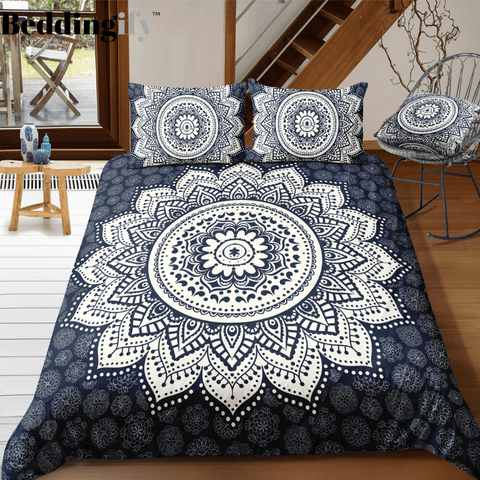 Image of Flowers Black White Mandala Pattern Bedding Set - Beddingify